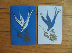 8 Playing Cards Blue and White Birds with Gold by michiegoodsny