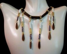 Brown Wood Bugle Bead With Gold, White, Purple Toho Seed Bead,and Brown Dagger Bead Necklace by Culbertscreations on Etsy
