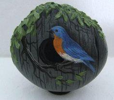 Hand Painted Rock Art Paintings Birdhouse w Bluebird Martha Winenger   eBay