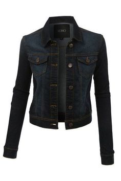 A must have staple in your closet this season....a dark blue denim jacket! It's a medium weight jacket with a little stretch for comfort and has two chest pockets. Pair it over just about anything for