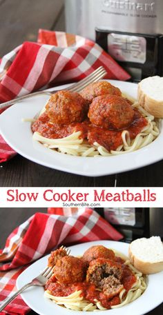 These Slow Cooker Meatballs are so easy and go great with spaghetti or even on meatball sandwiches! A great slow cooker recipe. (Meatball Sandwich Recipes)