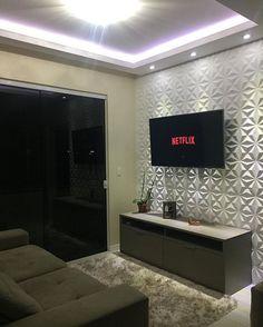 Sala pequena decorada: 70 inspirações e ideias para você! Interior Design Living Room, Living Room Designs, Living Room Decor, Tv Wall Decor, Home Design Decor, Home Decor, Condo Design, Ceiling Design, Small Apartments