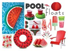 """Contest ~ Pool Floats ~ Watermelon Inspiration"" by celia-fangirl-fr ❤ liked on Polyvore featuring interior, interiors, interior design, home, home decor, interior decorating, Sunnylife, DutchCrafters, Big Mouth and Torrid"