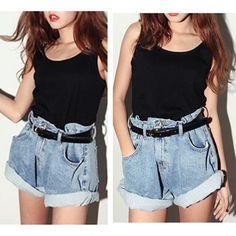 Fashion Womens Sexy Low Waist Rivet Hole Short Jeans Lady Denim ...