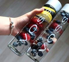 infused water with lemon, blueberry, strawberry