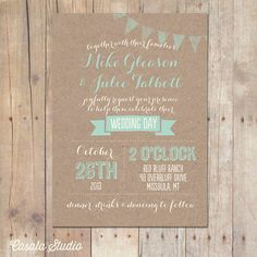 Rustic Kraft Wedding Invitation Mint Peach Bridal Shower Printable or Professionally Printed Cards 5x7