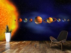 Solar System wall mural room setting