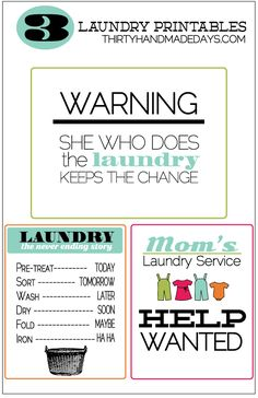 3 Laundry Printables from @30daysblog