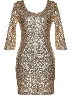 Gold Crusade Dress: Features an elegant scoop neck with sexy V-design to the rear, well-tailored elbow length sleeves, hundreds of glittering sequin pieces covering the entire dress, and a sleek form-fitting silhouette to finish.