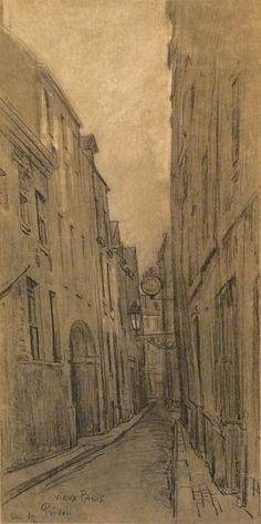 Combes Fernand - Charcoal - Vieux Paris, rue du Prévot - ~56.5x28.5cm; date probablement de 1910.