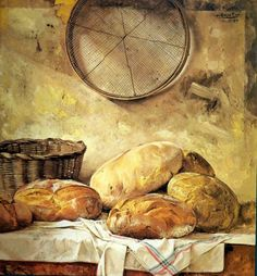 : Vintage Yourself! Bakery Store, Pretzel Rolls, Food Painting, Cool Kitchen Gadgets, Found Art, Country Paintings, Bakery Recipes, Cafe Food, Food Drawing