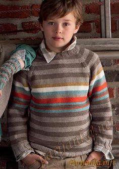Пуловер (д) 35*57 PHIL №2117 Crochet For Boys, Knitting For Kids, Baby Knitting, Knit Baby Sweaters, Boys Sweaters, Sweater Knitting Patterns, Knitting Designs, Kids Fashion Boy, Stripes Design