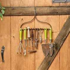 Upcycled Rake Head Tool Holder