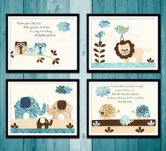 Safari Nursery Art Print Set, 5x7, Kids Room Decor, Baby/Children Wall Art -