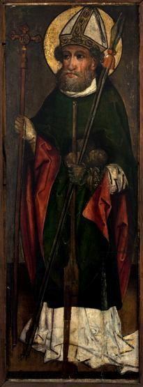 Św. Wojciech, Maria Panna ze sceny Zwiastowania. Skrzydło z retabulum ołtarzowego ze Snoży, ok. 1460