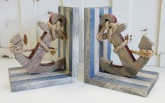 Wood Anchor Rope Book Ends - Nautical Themed Decor - California Seashell Company