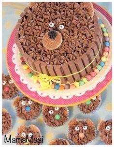 kitkat berentaart, chocolade botercreme, verjaardagstaart kind