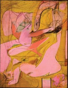 "Willem de Kooning. Pink Angels. c. 1945. Oil and charcoal on canvas, 52 x 40"" (132.1 x 101.6 cm). Frederick R. Weisman Art Foundation, Los Angeles. © 2011 The Willem de Kooning Foundation/Artists Rights Society (ARS), New York"