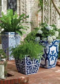 Inspired by handpainted Mediterranean tiles, our Santorini Planters evoke the beauty of a Grecian garden. Crafted of durable polyester resin, styrene and fiberglass, these gently tapered planters marry looks and longevity.