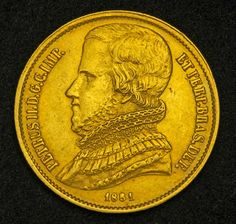 Brazil Gold Coins 20000 Reis Gold Coin of 1851, Emperor Dom Pedro II