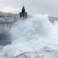 Porthleven 5/2/2014, Giant waves engulf the Church and coast.