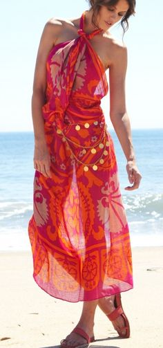 How to wear a large scarf as a halter dress / beach coverup. Tutorial here http://youtu.be/lwmTlqHd-0I