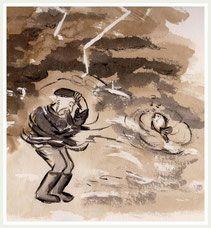 Der Donner dröhnte, Blitze zuckten, die Stürme rasten voller Wucht, die Brecher brausen und verschluckten fast alles in der Meeresbucht. aus: DER BUTT MIT DEM FISCHER UND SEINER FRAU, eine Märchenballade von Klaudia Diekmann mit Tusche-Zeichnungen von Christa Hansen