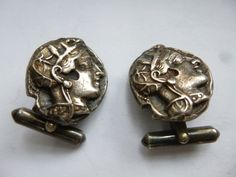 Sterling Silver Greek Coin Replica Cufflinks.