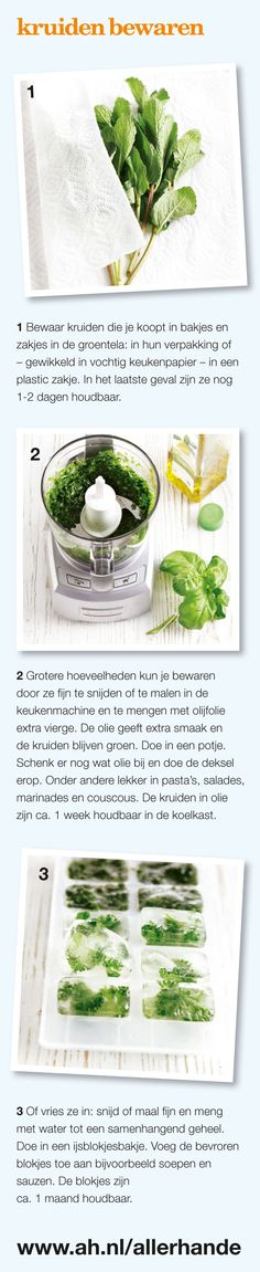 kruiden bewaren Healthy Foods To Eat, Healthy Eating, Healthy Recipes, Fruit Preserves, Food Facts, Other Recipes, Appetizer Recipes, Cooking Tips, Spices