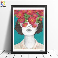 Lightclub Nordic Sunglasses Flower Girl Canvas Frameless Indoor Wall Painting Decoration Size x Painting Of Girl, Painting Prints, Art Prints, Painting Gallery, Gallery Wall, Canvas Wall Art, Canvas Prints, Portrait Wall, Cross Paintings