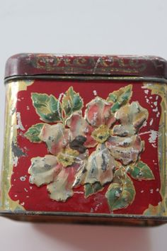 Vintage Red Wild Rose Floral United States Tobacco by PeggysTrove, $30.00