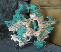"""$205.00***COPPER FREE-FORM SCULPTURE:  Flashy  """"splash"""" copper display sculpture. Crystal Gifts, Mineral, Art Pieces, Copper, Wreaths, Display, Sculpture, Rock, Crystals"""