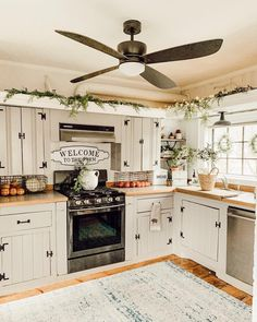 "We are in love with this farmhouse kitchen styled by Our ""Welcome to the Farm"" sign looks right at home here! We are in love with this farmhouse kitchen styled by fleur_at_home. Our ""Welcome to the Farm"" sign looks right at home here! Farmhouse Style Kitchen, Home Decor Kitchen, Rustic Kitchen, New Kitchen, Awesome Kitchen, Farmhouse Decor, Kitchen Hacks, Modern Farmhouse, Farm Kitchen Ideas"