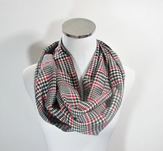 Plaid Scarf Plaid Infinity Scarf Black and Red Plaid by ScarfTempo