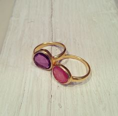 Pippa Small, gold amethyst and rhodocrosite ring/rings @ WHITEbIRD