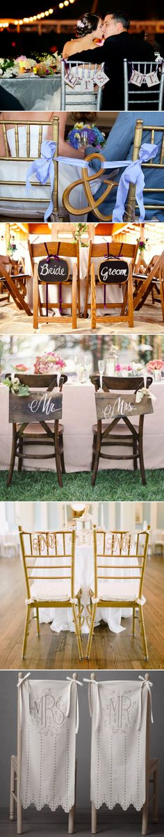 Chair ideas for the bride and groom. So cute!!