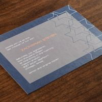Perfect contemporary Bar Mitzvah invitation tastefully decorated with the Star of David.