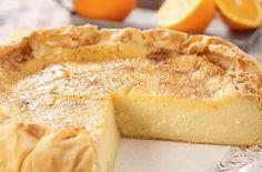 Galatopita - Greek milk pie - www.me - Fine cooking recipes for everyone Greek Sweets, Greek Desserts, Greek Recipes, Fine Cooking Recipes, Cooking Time, Pie Dessert, Dessert Recipes, Easy Sweets, Sweet Pastries