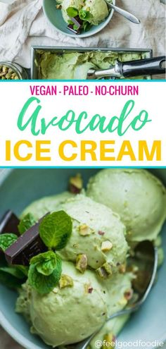 Check out this easy healthy homemade avocado ice cream recipe that's vegan, paleo-friendly and incredibly tasty. It's creamy, smooth and ultra-rich, and best of all - there's no ice cream maker required! There's also a step-by-step video recipe and guidel Avocado Dessert, Paleo Dessert, Dessert Recipes, Snack Recipes, Avacado Ice Cream, Avocado Toast, Sorbets, Avocado Recipes, Homemade Ice Cream