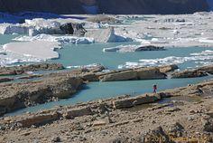 Hiking the Upper Grinnell Glacier in Glacier National Park.  Photo Robert Zavadil