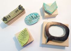 Adorable stamps sketched and carved by Sarah Wilson.