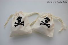 Diary of a Crafty Lady: Pirate Party Part 1: Muslin Drawstring Party Favor Bags