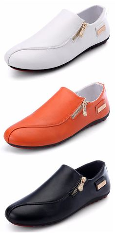 US$17.29 Men Side Zipper British Style Flat Slip On Casual Doug Shoes#shoes #work #simple #slippers #diy