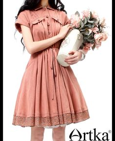 Aliexpress.com: Comprar Mujeres Artka primavera Vintage estilo de la corte Patchwork cordón inferior de la extensión de algodón agradable a la piel vestido a media pierna LA10235X de vestidos de fiesta confiables proveedores de Artka.