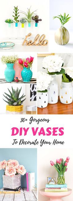 Over 30 DIY vase ideas and crafts to decorate your home! So many simple and beautiful ideas including painted glass, glitter, rustic, and dollar store ideas.