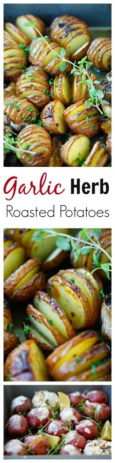 Garlic Herb Roasted Potatoes – the easiest and delicious roasted potatoes with olive oil, butter, garlic, herb and lemon!! | rasamalaysia.com | #potatoes