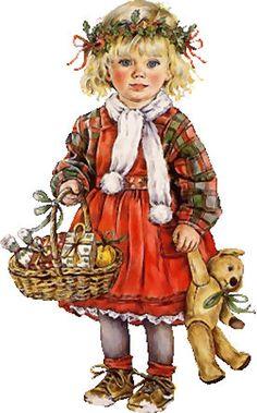 Meisje met mandje en Teddybeer