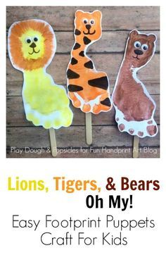 Lions, Tigers, & Bears Footprint Craft for Kids. Excellent preschool craft for Wizard of Oz or the Zoo.