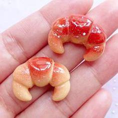Croissant Cabochons | Dollhouse Bread Cabochon | Miniature Food Cabochon | Kawaii Decoden Pieces (2pcs / 23mm x 18mm)