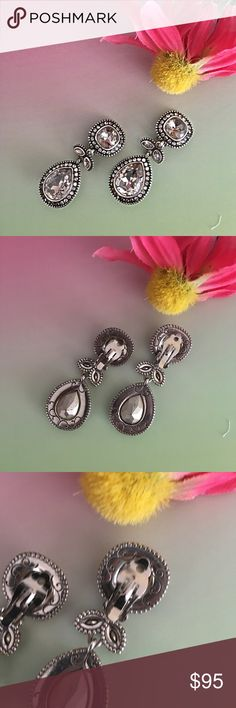 brighton collectibles swarovski crystals earings -Clip Earnings -Stirling Silver  - swarovski crystals Brighton Jewelry Earrings
